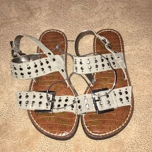 NWT Sam Edelman Gray Suede Sandal with Silver
